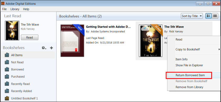 Adobe Digital Editions screenshot (returning a book early)