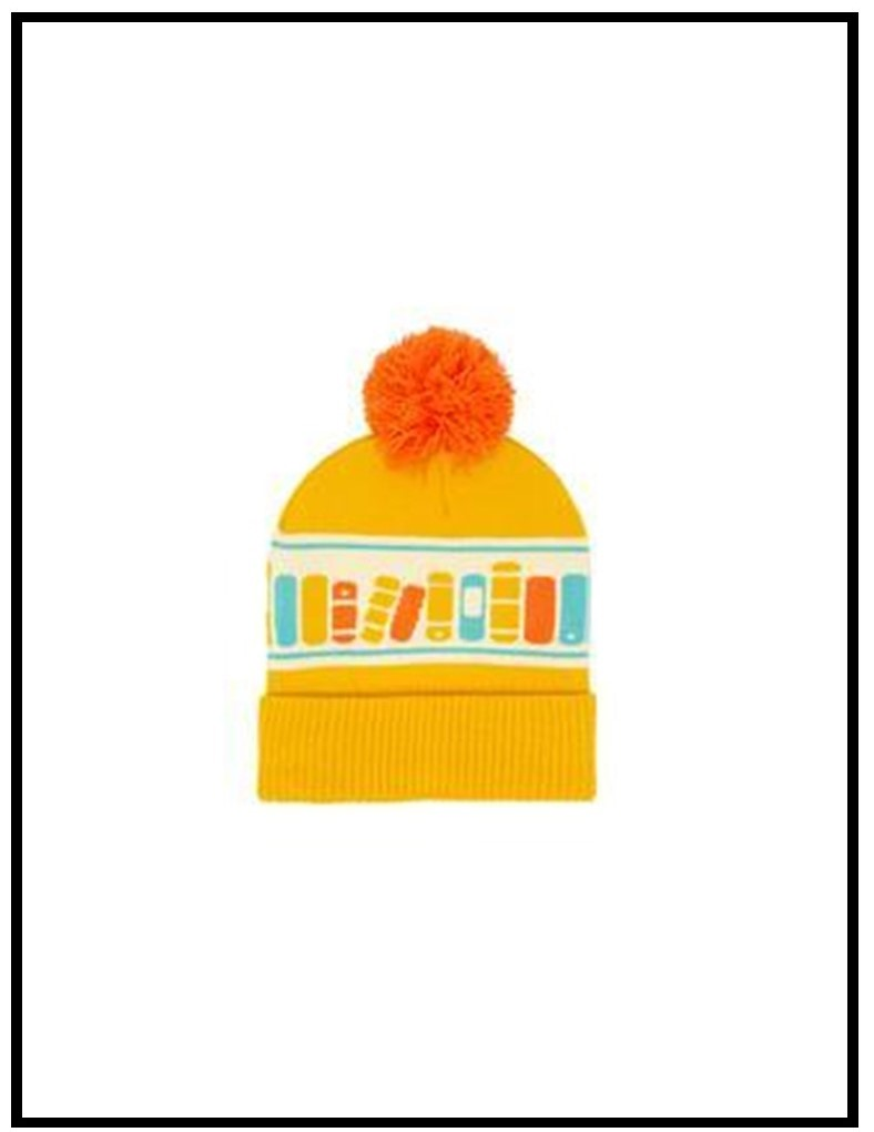 Image of a tuque with a bookshelf on it.