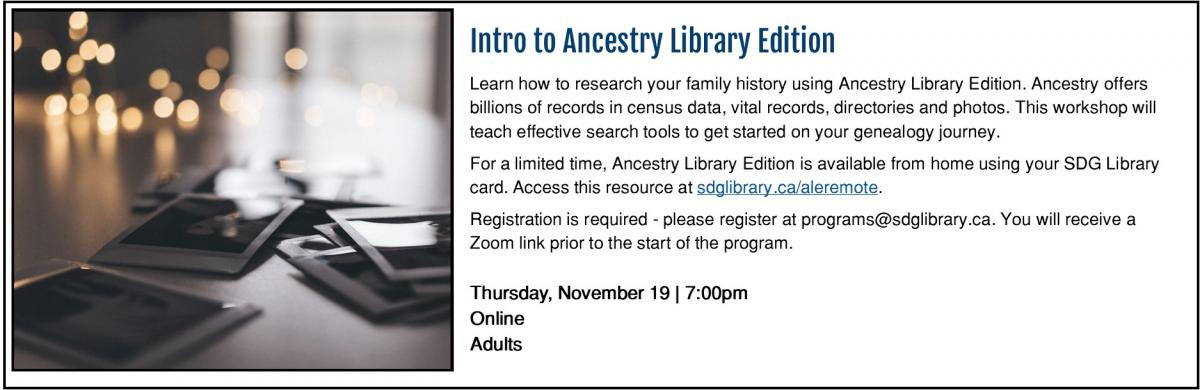 Intro to Ancestry Library Edition