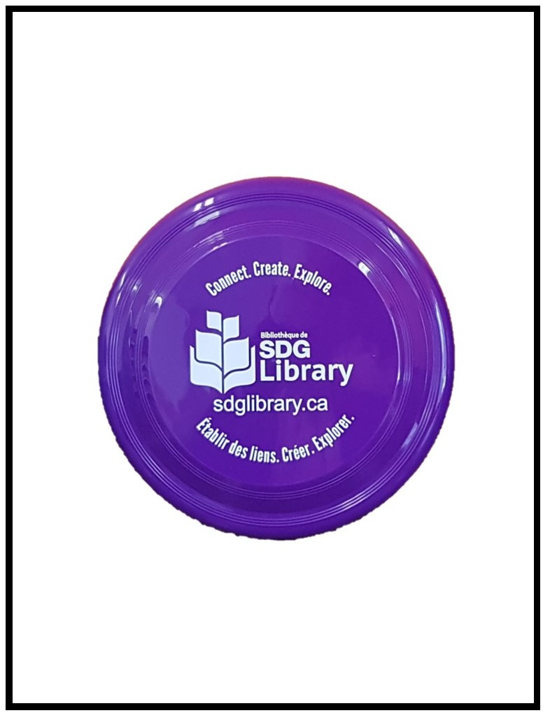 Image of a purple frisbee with the library logo