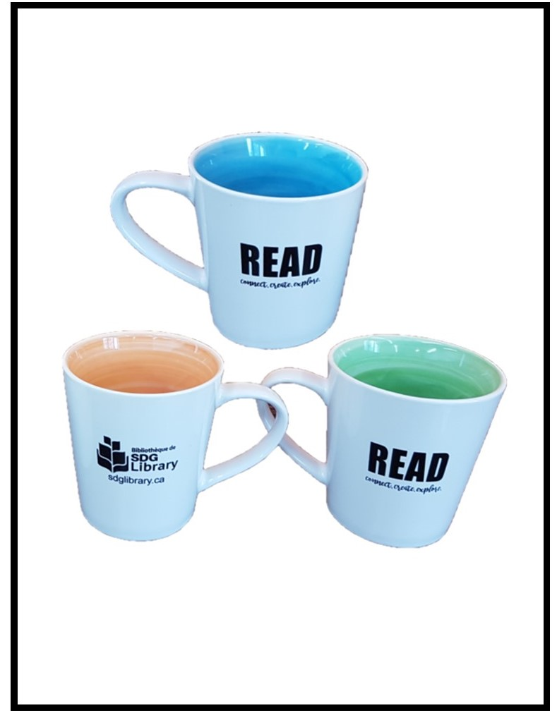 Three mugs with green, blue and orange inside with the Library logo and the word READ printed on them.