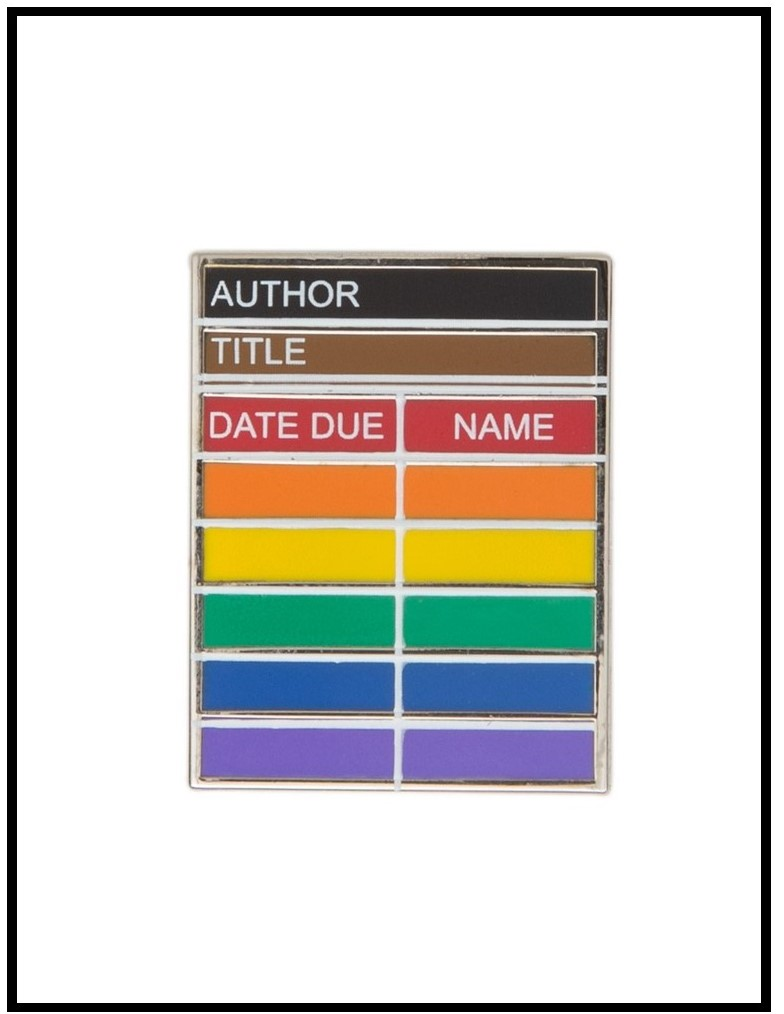Image of an enamel pin that looks like a library card in rainbow colours