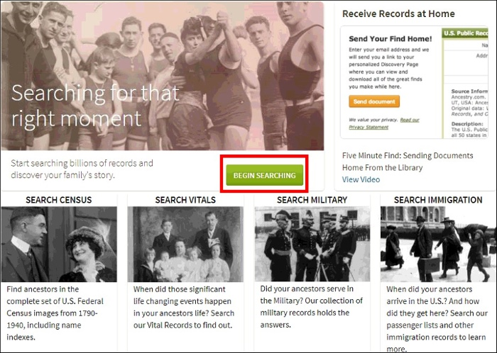 Ancestry Online screenshot