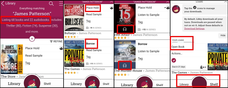 Libby app screenshots - search & borrow tips